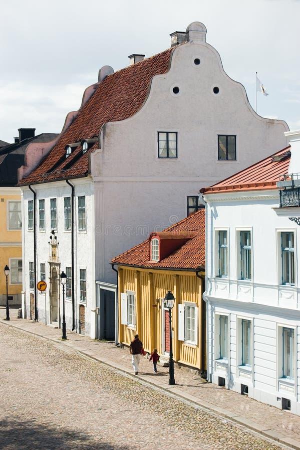 Casas históricas de Suecia Kalmar imagenes de archivo