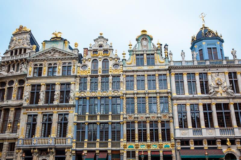 Casas históricas del gremio de Grand Place en Bruselas fotografía de archivo libre de regalías