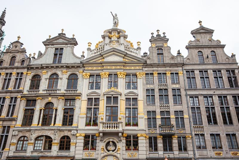 Casas históricas del gremio de Grand Place en Bruselas foto de archivo