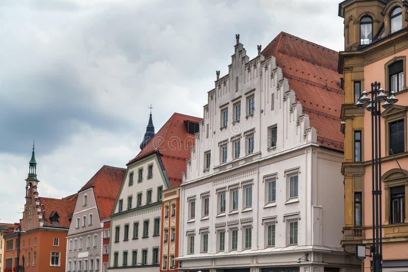 Casas históricas em Straubing, Alemanha imagens de stock royalty free