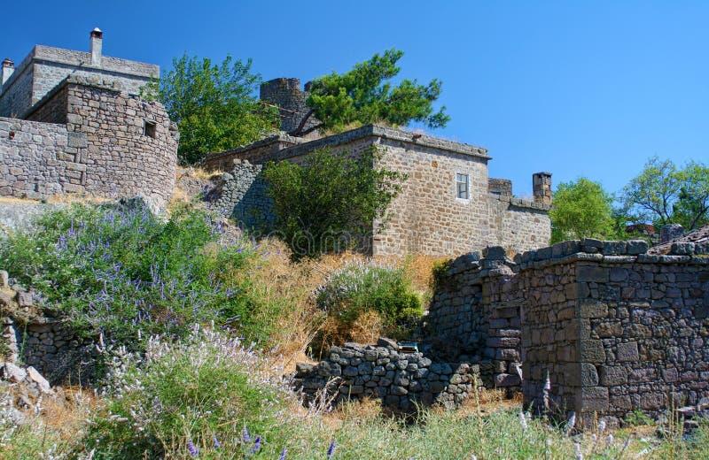 Casas históricas en Behramkale, Turquía fotografía de archivo
