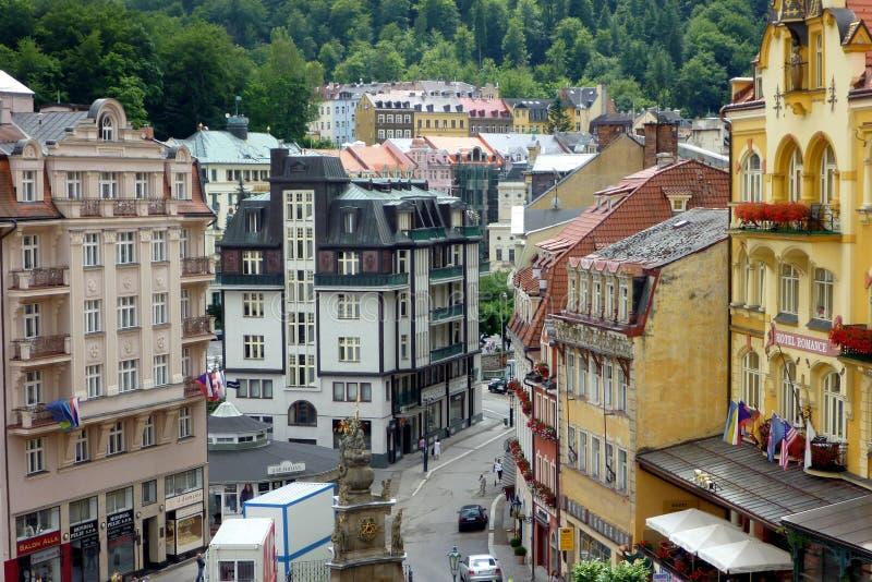 Casas históricas, Karlovy Vari, República Checa imagens de stock royalty free