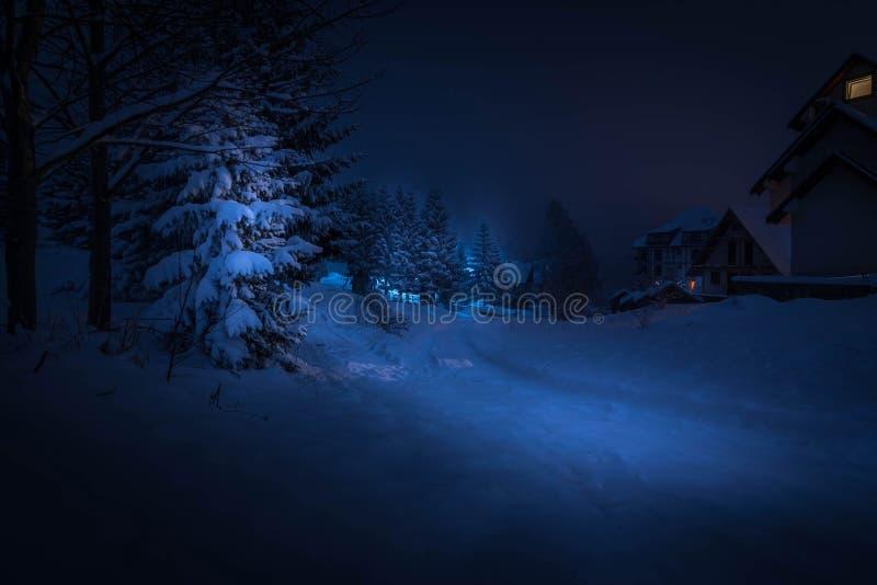 Casas ideales en la nieve foto de archivo