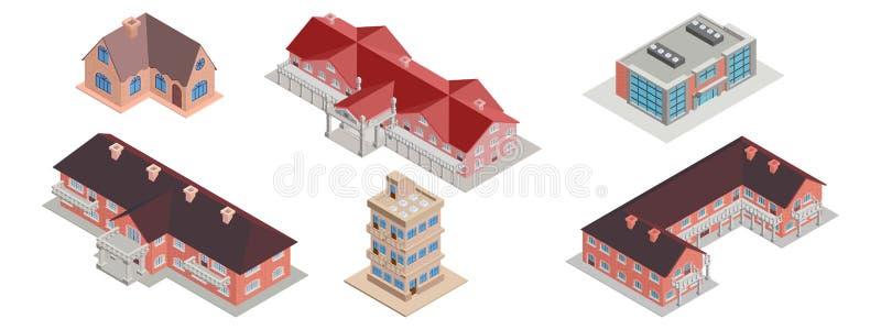 Casas isométricas uma seleção de residencial e de industrial ilustração do vetor