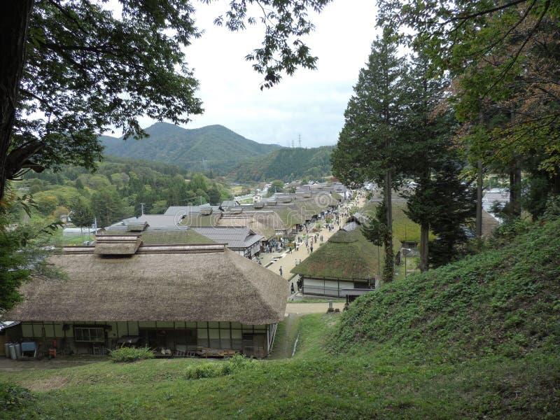 Casas japonesas antiguas en Ouchijuku en Japón imagen de archivo libre de regalías