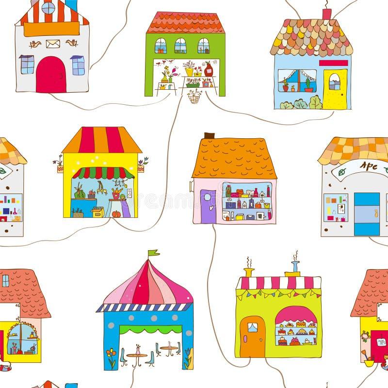 Casas lindas en el modelo inconsútil de la ciudad con la calle y los caminos Ilustración del vector ilustración del vector