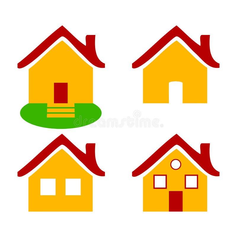 Casas lisas coloridas dos ícones isoladas fotografia de stock