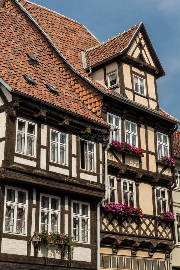 Casas medievais Quedlinburg Alemanha imagem de stock
