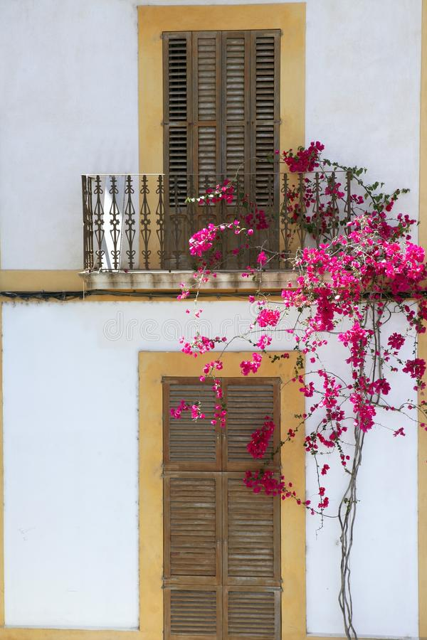 Casas mediterrâneas da arquitetura do console de Ibiza fotos de stock