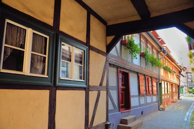 casas Metade-suportadas em Quedlinburg fotografia de stock royalty free