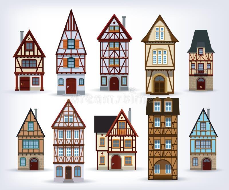 Casas metade-suportadas históricas ilustração do vetor