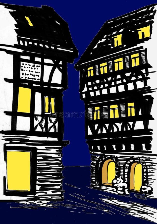 casas Metade-suportadas na noite ilustração royalty free