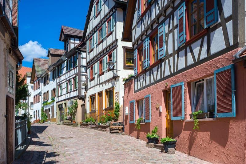 casas Metade-suportadas no Spitalstrasse em Schiltach fotografia de stock royalty free