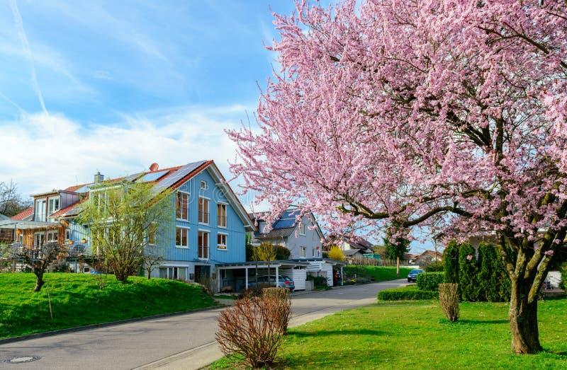 Casas modernas en primavera fotos de archivo libres de regalías