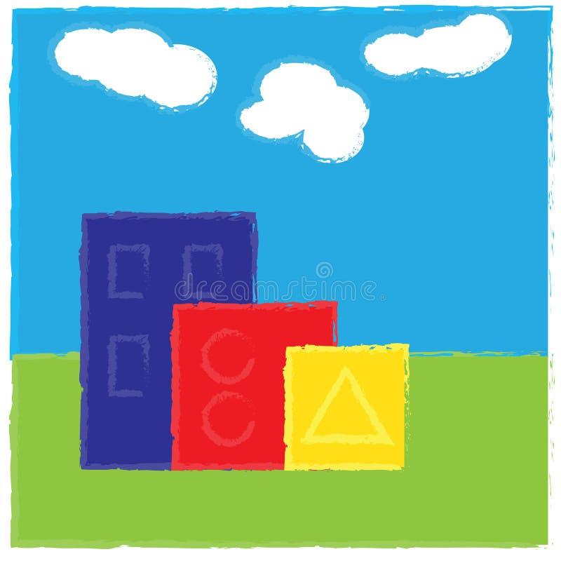 casas Multi-coloridas com formas geométricas ilustração royalty free
