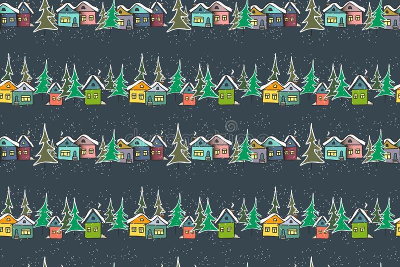 Casas multicoloras del caramelo fabuloso en fondo de los azules marinos ilustración del vector