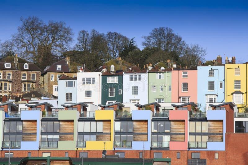 Casas Multicoloured em Bristol fotos de stock