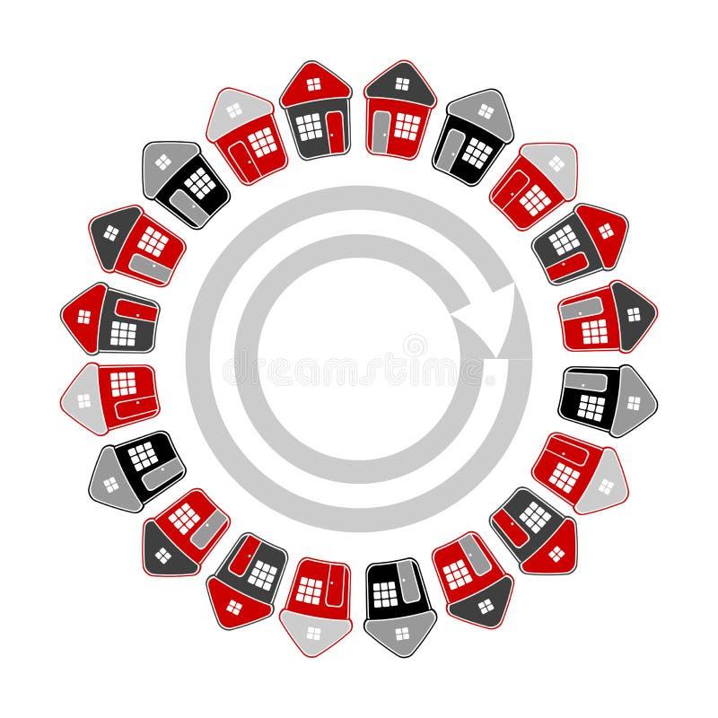 Casas na forma do círculo Conceito 6 dos bens imobiliários ilustração do vetor