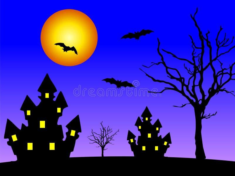 Casas na noite ilustração stock