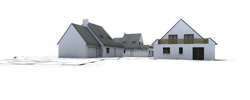 Casas na planta do arquiteto ilustração stock