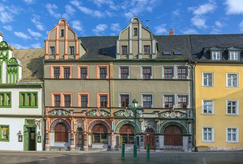 Casas na praça Mercado em Weimar, Alemanha fotografia de stock royalty free