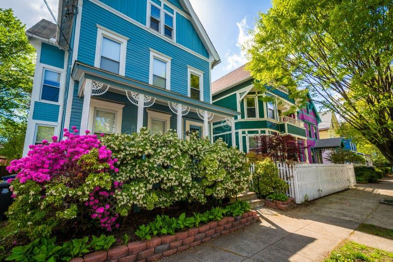 Casas na rocha do leste, New Haven, Connecticut imagens de stock royalty free