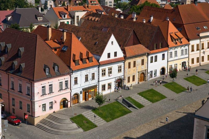 Casas no quadrado do bardejov imagem de stock