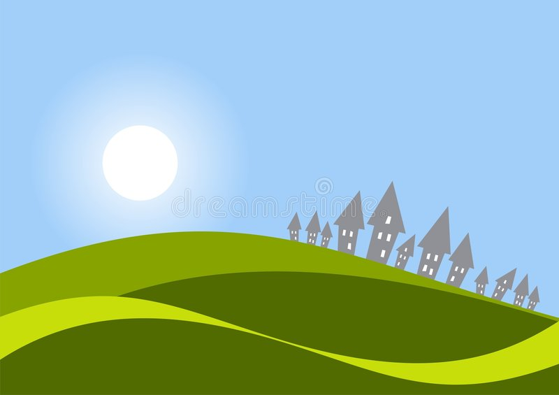 Casas nos montes ilustração do vetor