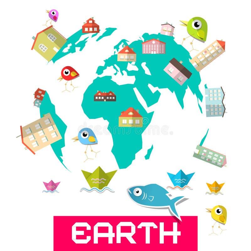 Casas - peixes e pássaros no globo ilustração royalty free
