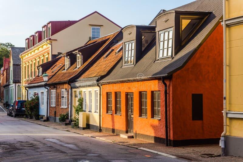 Casas pequenas encantadores em Ystad foto de stock
