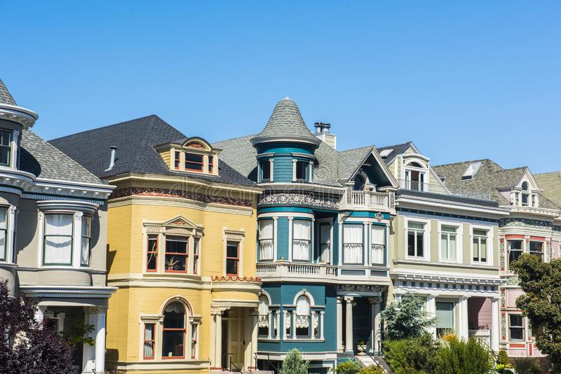 Casas pintadas das senhoras de San Francisco foto de stock royalty free