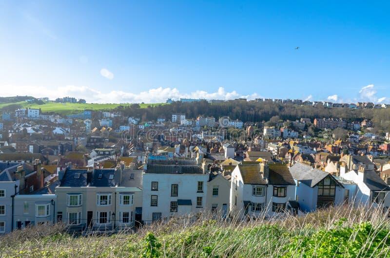 Casas residenciais em Hastings, Sussex do leste, em Inglaterra fotos de stock royalty free
