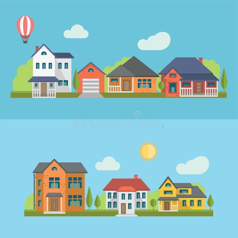 Casas residenciales ilustración del vector