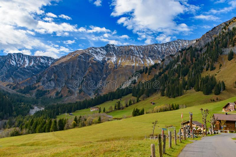 Casas suíças tradicionais do estilo nos montes verdes com a floresta na área dos cumes de Suíça, Europa fotos de stock