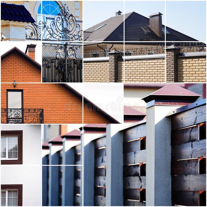 Casas suburbanas bonitas dos detalhes arquitectónicos foto de stock royalty free
