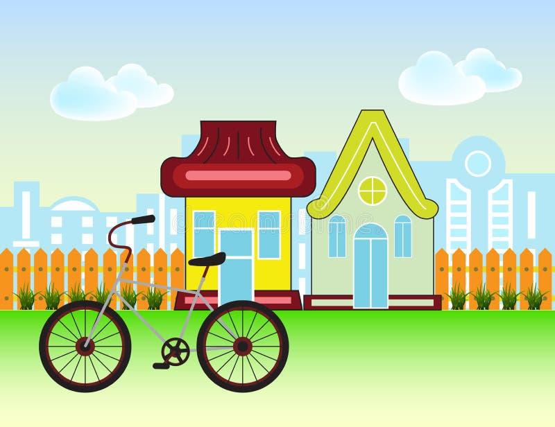 Casas suburbanas Front View Building e bicicleta com a silhueta de madeira da cerca e da cidade ilustração stock