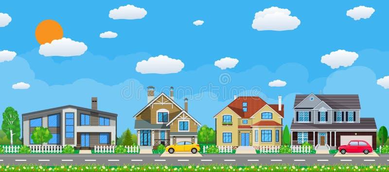 Casas suburbanas privadas com carro, ilustração do vetor