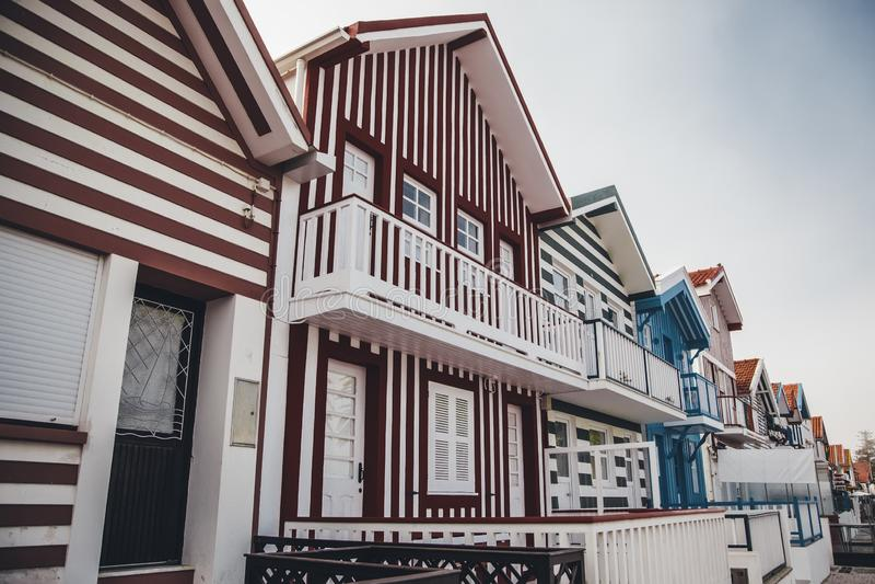 Casas típicas de Aveiro foto de archivo