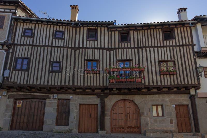 Casas t?picas del pueblo del la Alberca, Salamanca-Espa?a fotografía de archivo