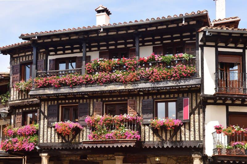 Casas típicas del pueblo medieval del La Alberca, Salamanca p imágenes de archivo libres de regalías