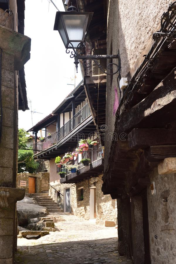 Casas típicas del pueblo medieval del La Alberca, Salamanca p imagen de archivo libre de regalías