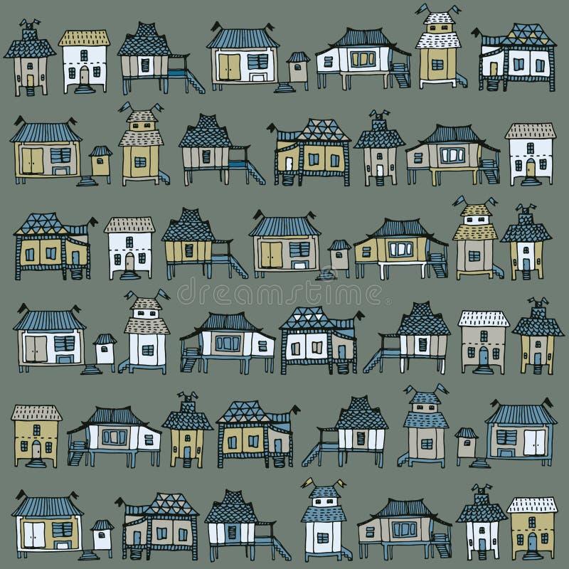 Casas tailandesas del estilo libre illustration