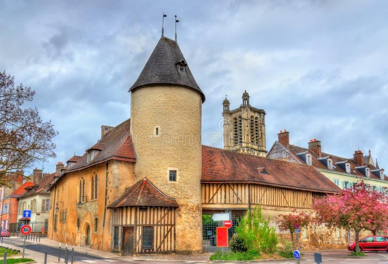 Casas tradicionais em Troyes, França fotografia de stock