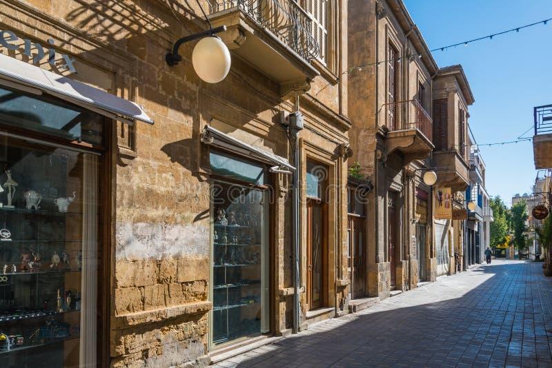 Casas tradicionais Nicosia Chipre fotografia de stock royalty free