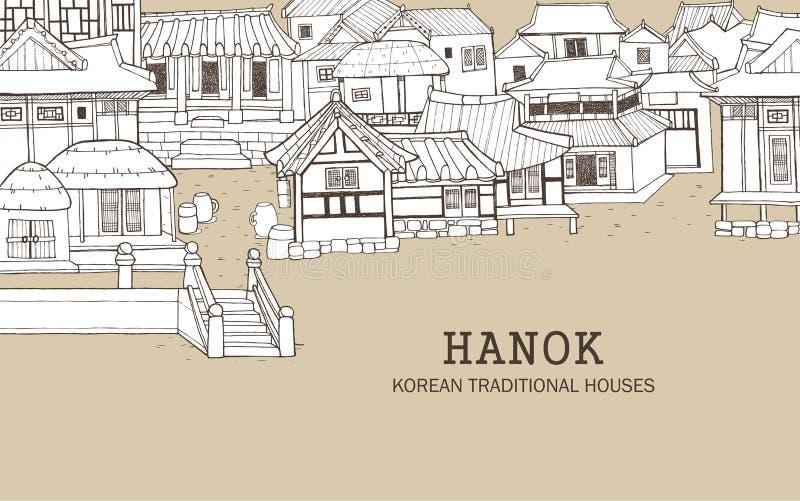 Casas tradicionales coreanas C ilustración del vector