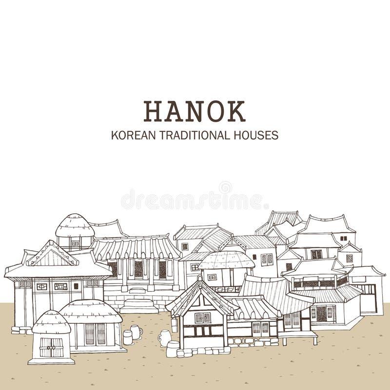 Casas tradicionales coreanas E stock de ilustración