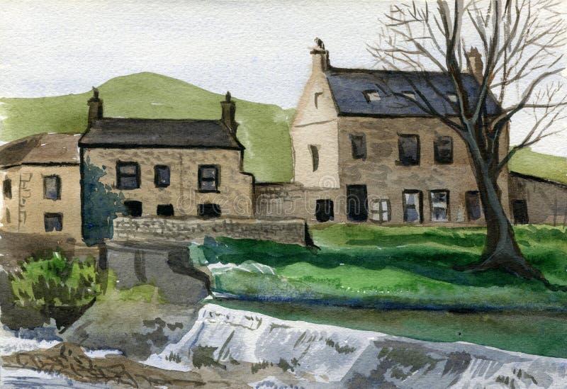 Casas tradicionales de la ciudad vieja, Yorkshire, Inglaterra libre illustration