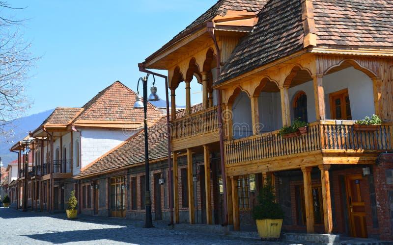 Casas tradicionales de Qakh en el Cáucaso Azerbaijan foto de archivo