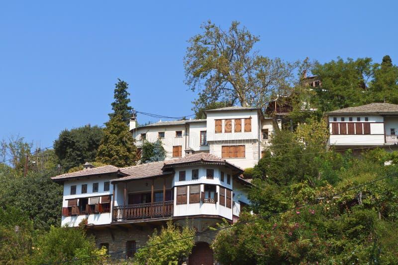 Casas tradicionales en Pelion en Grecia imagen de archivo libre de regalías