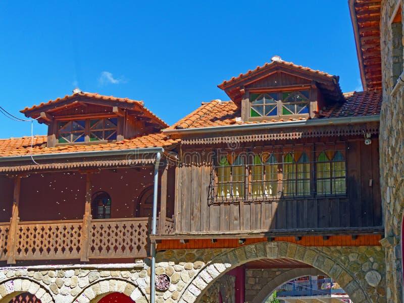 Casas turcas tradicionales del estilo, Metsovo, Grecia fotos de archivo